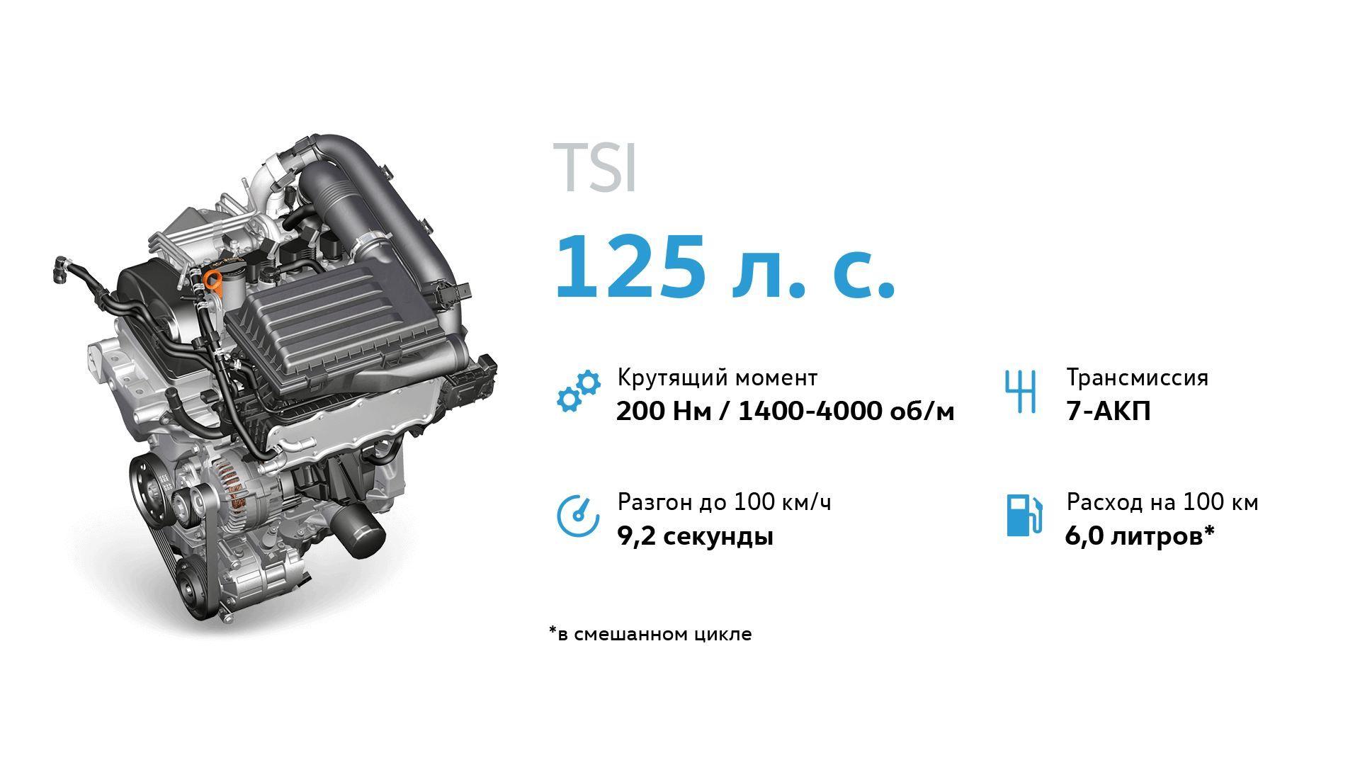 Двигатель Volkswagen TSI 125 л. с..