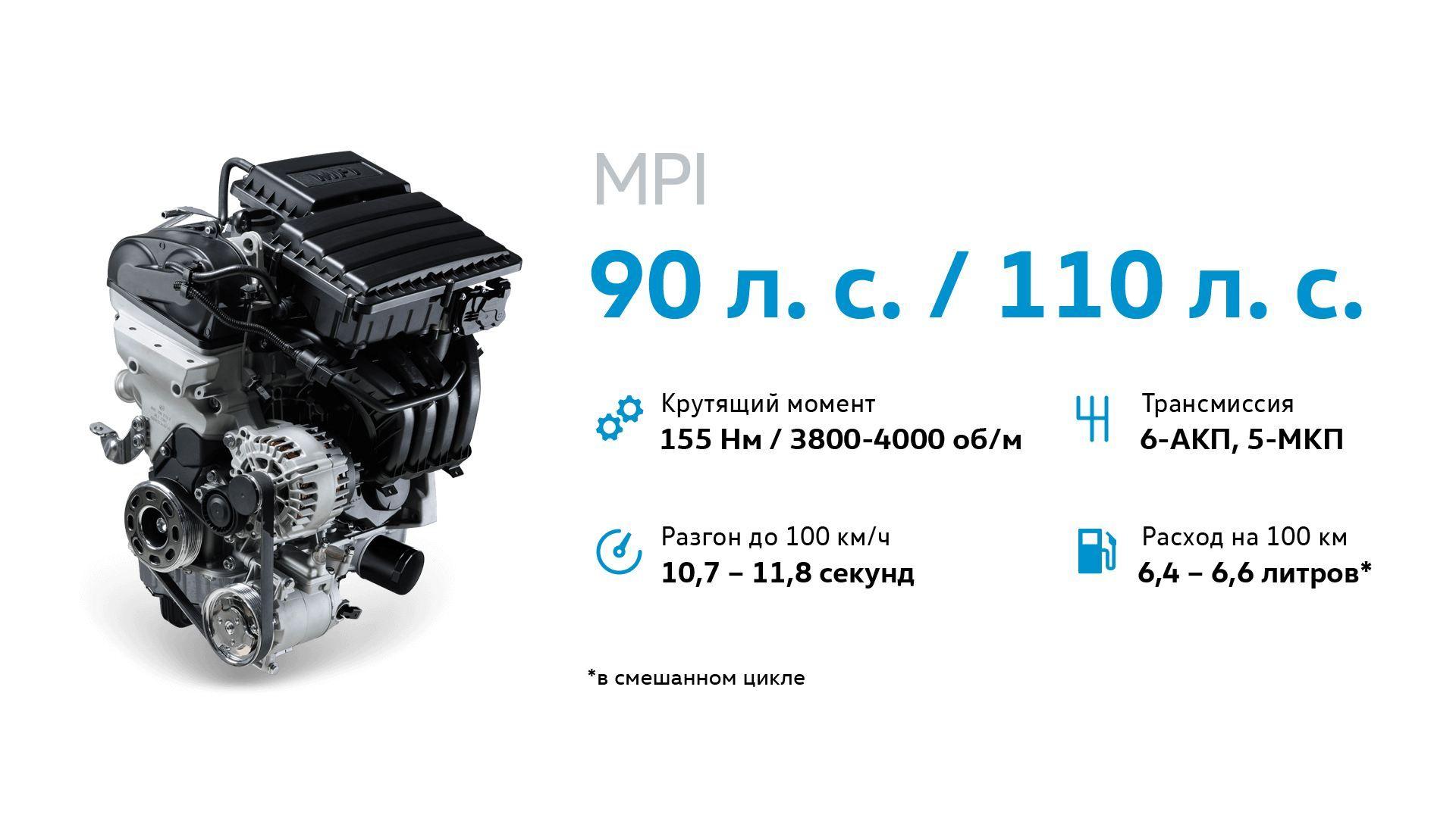 Двигатель MPI 90 л. с. / 110 л. с.